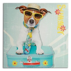 Dog with Suitcase Picture on Linen Canvas 40 x 40