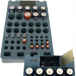 Rechargeable Battery Organizer with Battery Tester