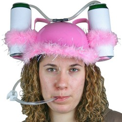Pink Feathered Beer Helmet