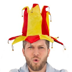 Spanish Flag Jester Hat with 14 Bells