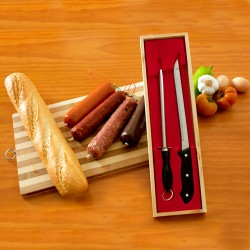 Ham Knife and Sharpener (Wooden Case)