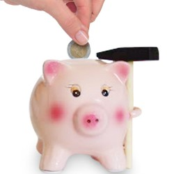 Ceramic Pig Savings Bank with Hammer